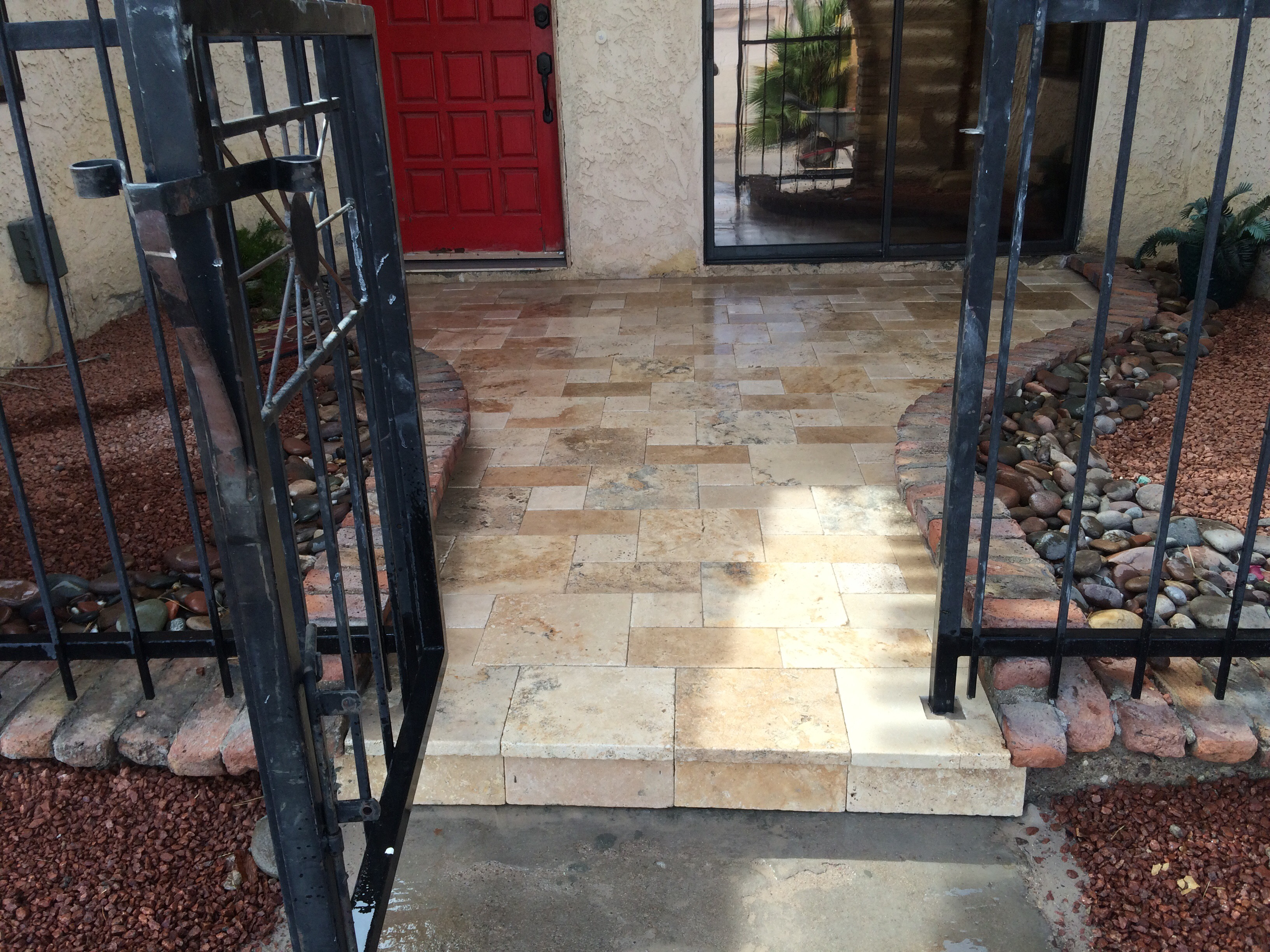 Just Finished Travertine Entry Way U2013 Garitee Landscapes 928 208 7188